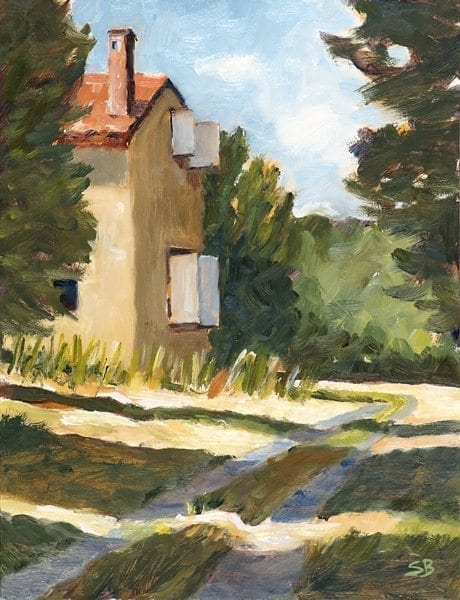 Farmhouse and Sunlit Road